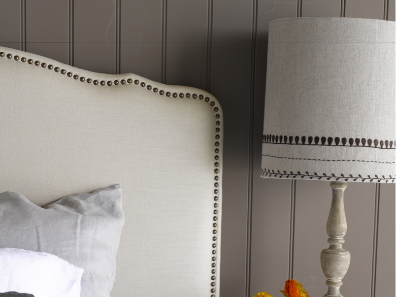 French style Marie upholstered headboard with stud detailing based on vintage headboard