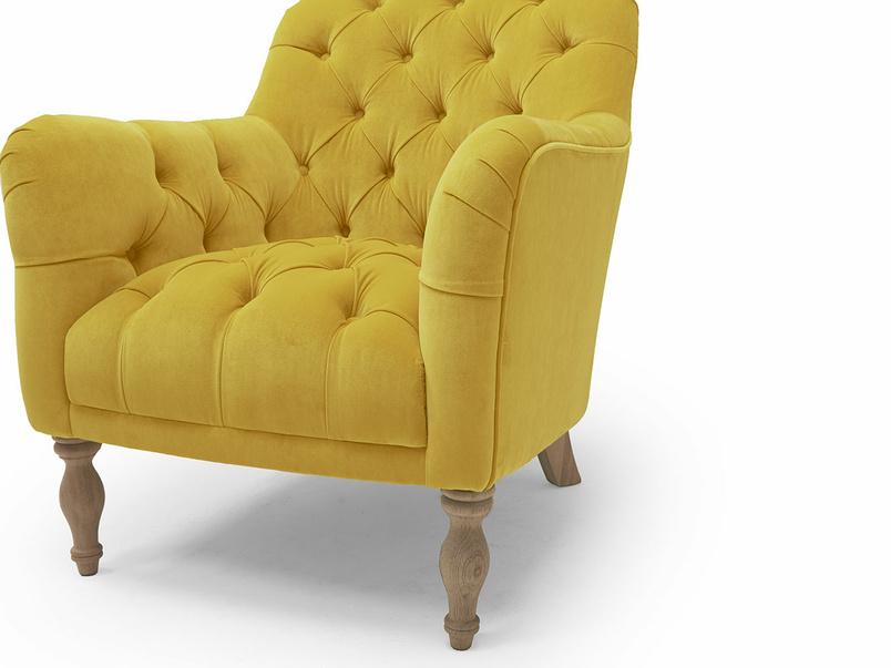 Reader armchair button back detail