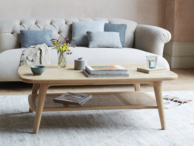Throwback rattan low coffee table