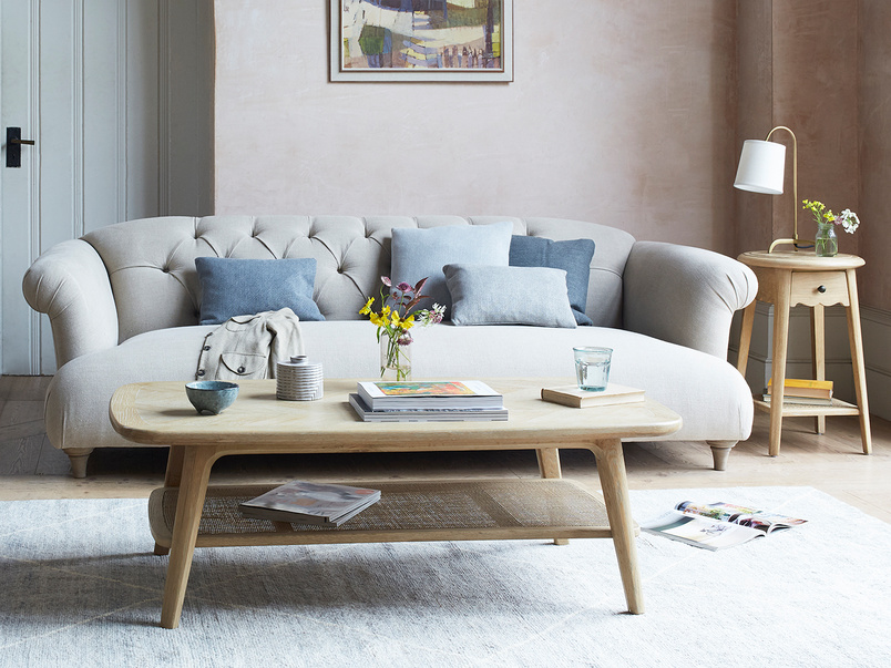 Dixie Comfy Sofa with Throwback Coffee Table