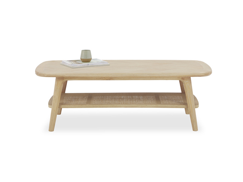 Throwback Coffee Table with Rattan Shelf