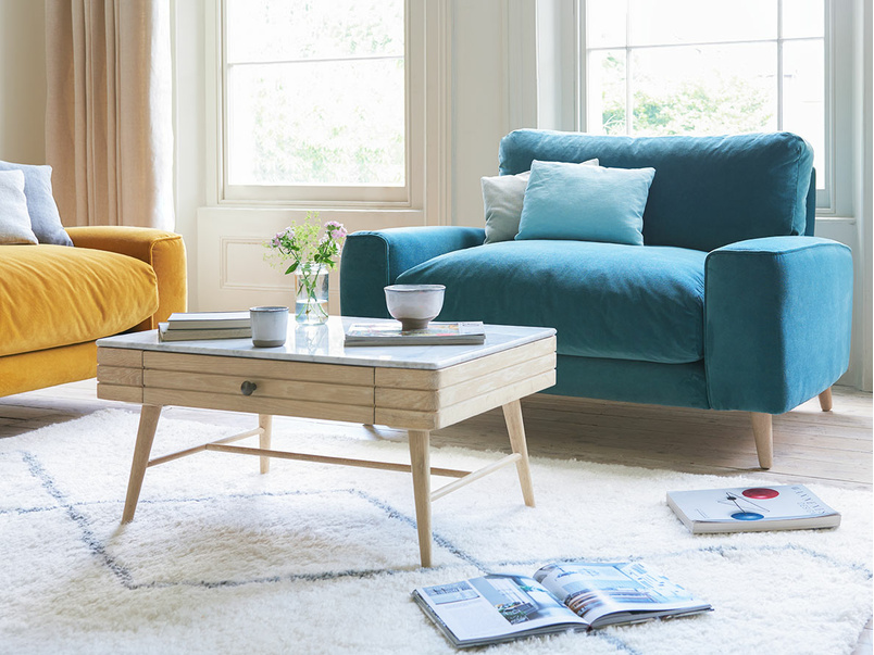 Strudel contemporary low arm love seat