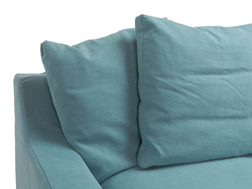 Detail of box edge large scatter cushions on extra comfy Cloud double sofa bed