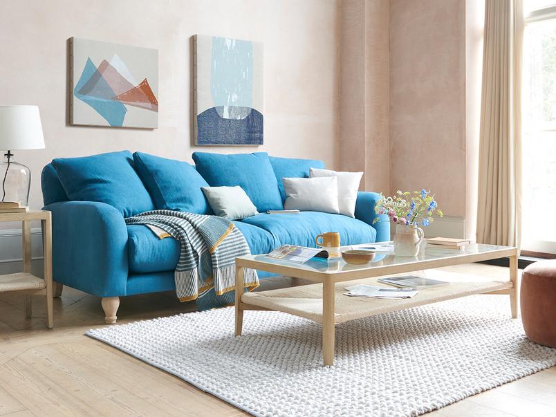 Bear Hug comfy sofa in Harbour blue vintage linen