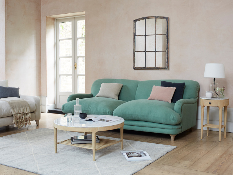 Pudding Sofa in Thyme green vintage linen