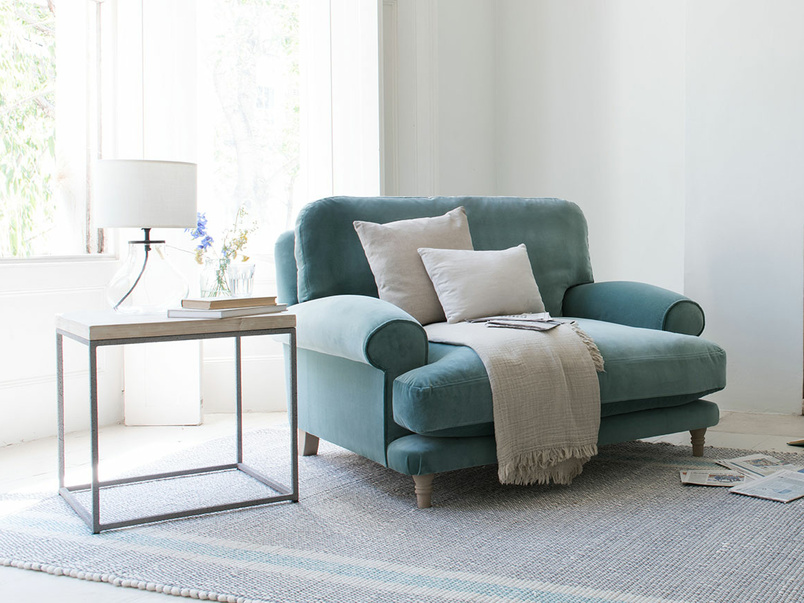 Slowcoach love seat thin base sofa