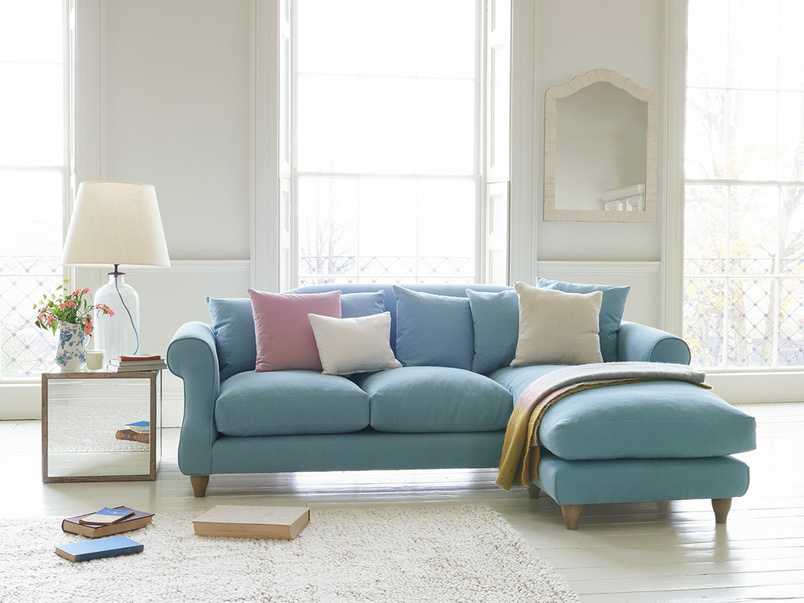 Deep fabric Sloucher chaise sofa
