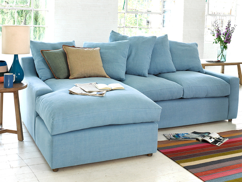 Cloud Chaise corner sofa in cloud blue vintage linen, extra comfy and homeade in Britain
