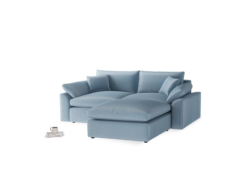 Medium Right Hand Cuddlemuffin Modular Chaise Sofa in Chalky blue vintage velvet