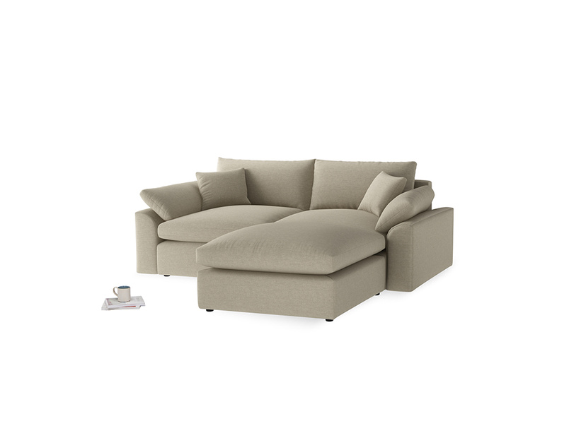 Medium Right Hand Cuddlemuffin Modular Chaise Sofa in Jute vintage linen