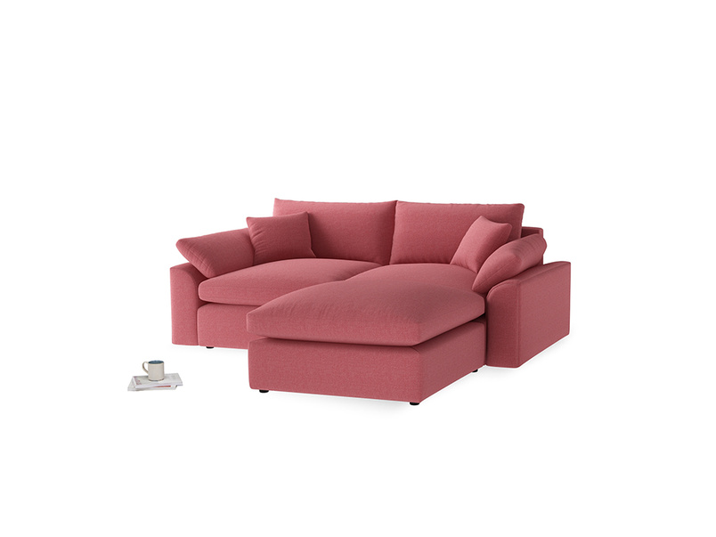 Medium Right Hand Cuddlemuffin Modular Chaise Sofa in Raspberry brushed cotton