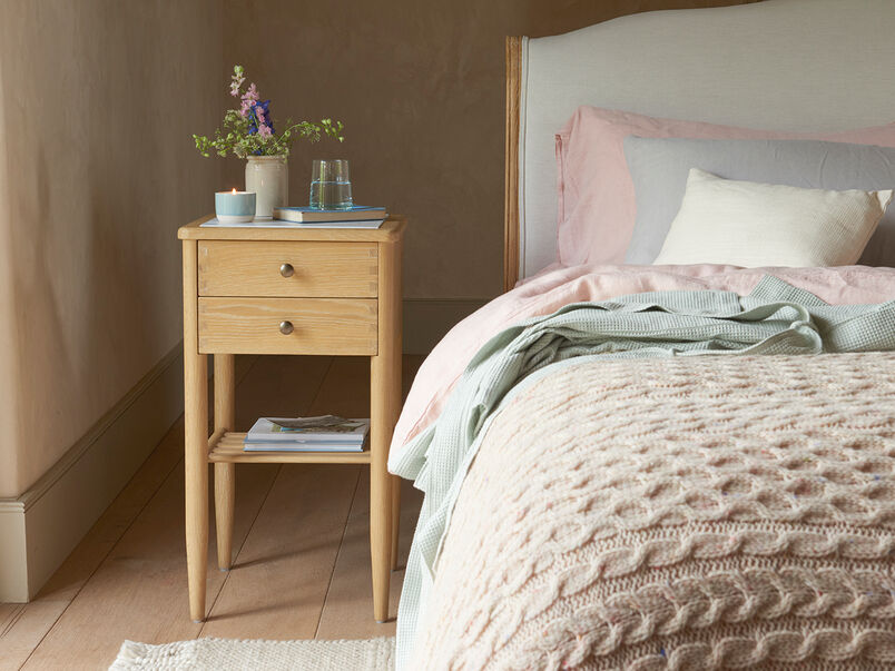 Joiner marble and oak bedside table