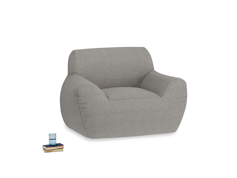 Layabout Chair Squidger in Marl grey clever woolly fabric