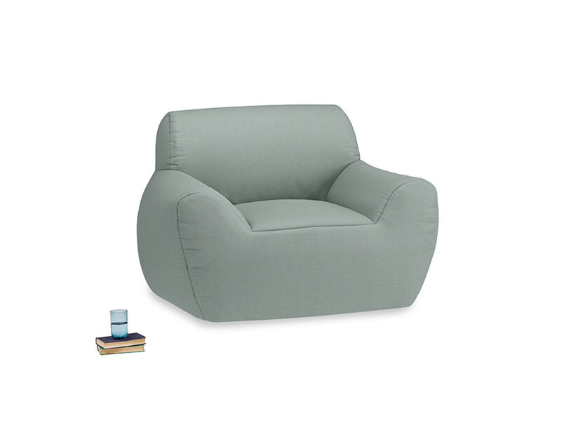 Layabout Chair Squidger in Sea fog Clever Woolly Fabric
