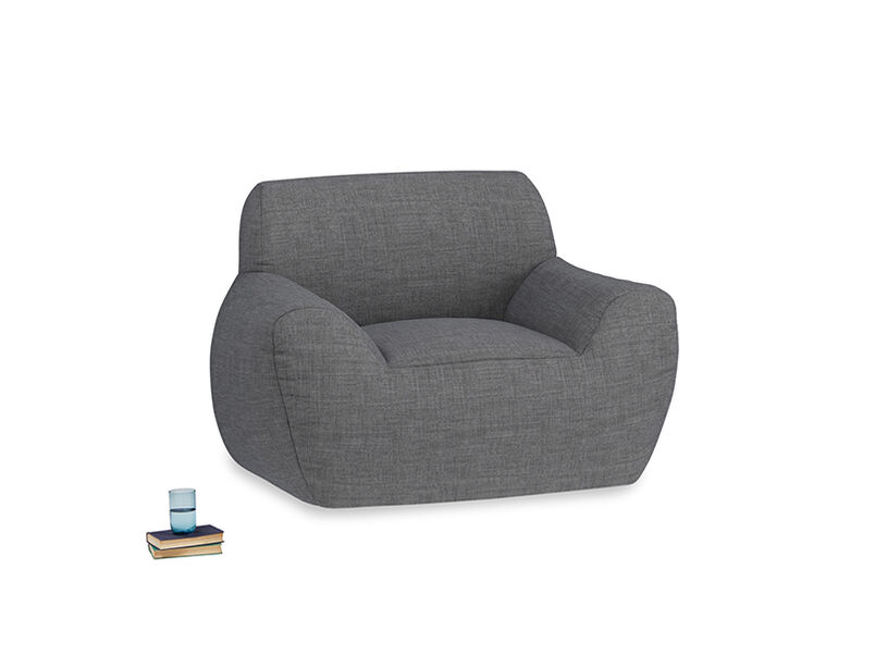 Layabout Chair Squidger in Strong grey clever woolly fabric