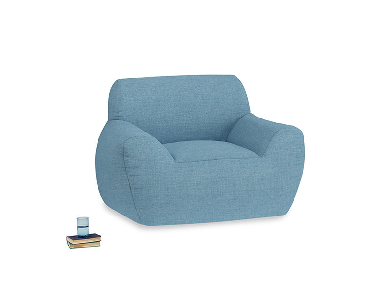 Layabout Chair Squidger in Moroccan blue clever woolly fabric