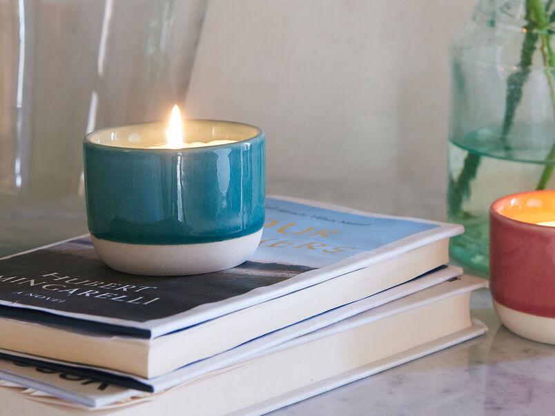 Candle Pot in Tea Towel Teal
