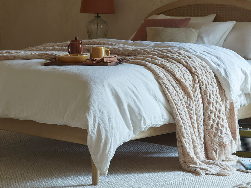 Chunky Knit Throw in Natural Cream close