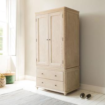 Amory wardrobe in bleached oak