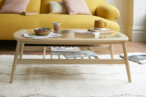 Wood Turner glass top coffee table
