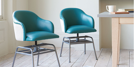 Milkshake retro leather kitchen dining chair in Teal