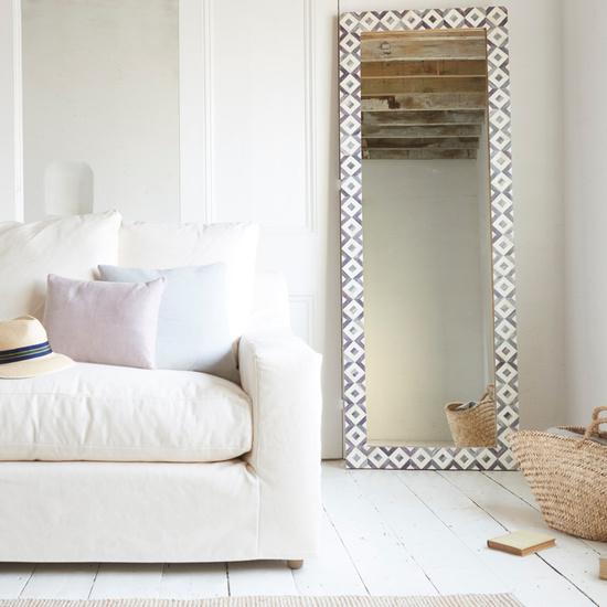Zebedee long floor mirror with bone inlay finish