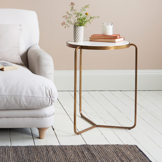 High Jinks brass and marble top side table