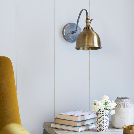 Gaston brass and pewter wall light