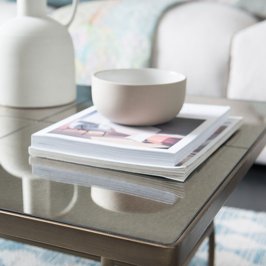 Cappuccino brass mirror coffee table
