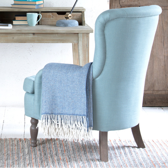 Blue Belle Wool Blanket And Bed Throw With Rudyard Desk