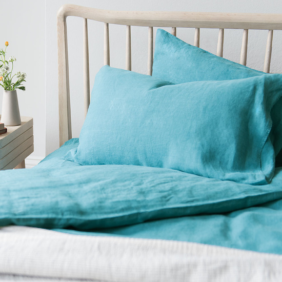 Lazy linen bed linen kingfisher blue
