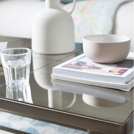 Cappucion brass mirror coffee table