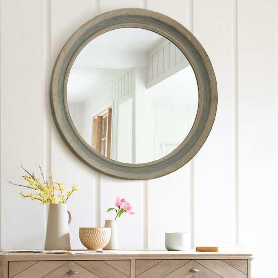 Round Dopple wooden wall mirror