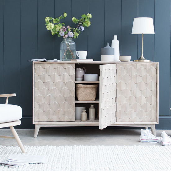 Grand Orinoco reclaimed wood patterened sideboard