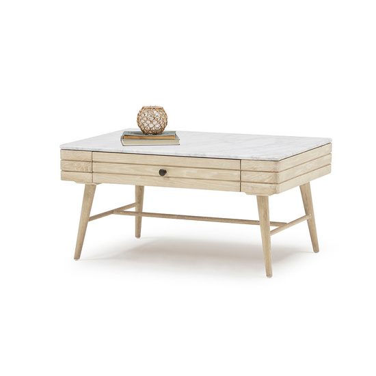 Coffee Bubba modern wood and marble top coffee table