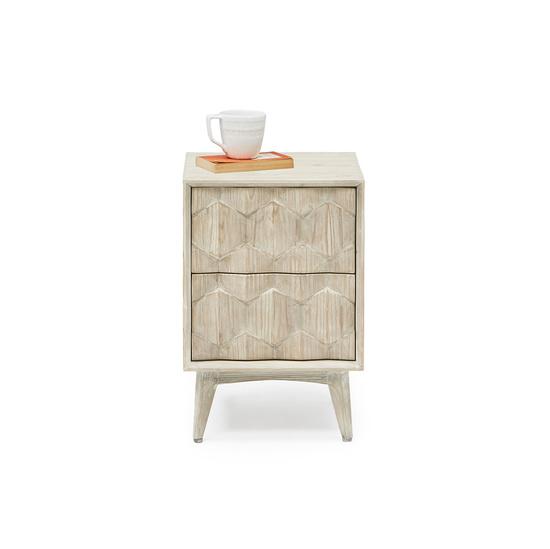 Little Orinoco hexagonal patterned wood bedside table