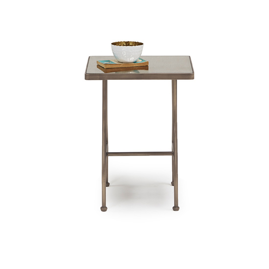 Espresso brass mirrored side table