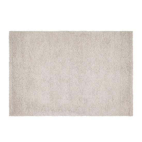 Shaggy floor rug in Light Grey wool