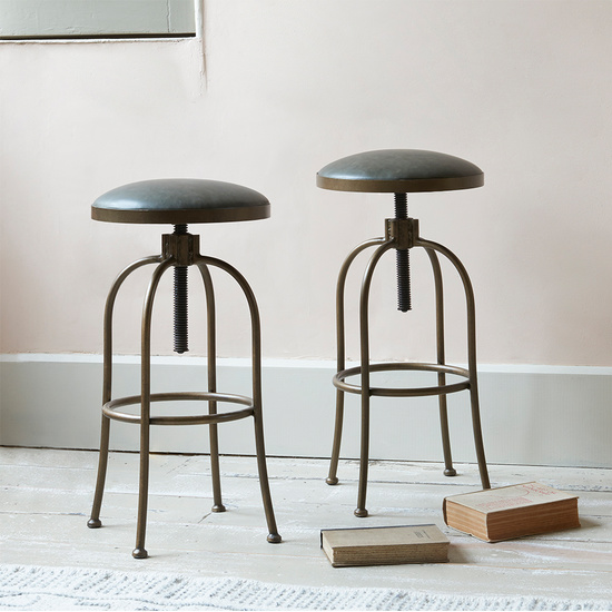 Breakfast adjustable leather top kitchen bar stool