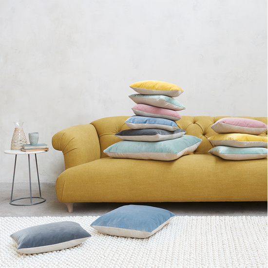 Two Tone velvet contrast cushions