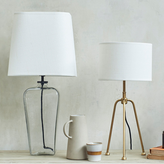 Clear Glass Based Bedside Table Lamp Range
