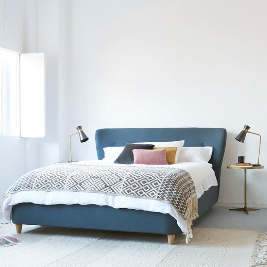Smoke modern upholstered bed