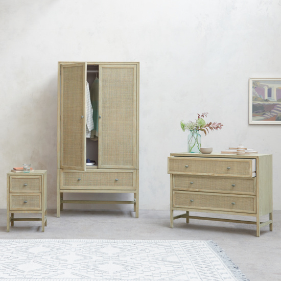 Willow wooden woven bedroom furniture collection