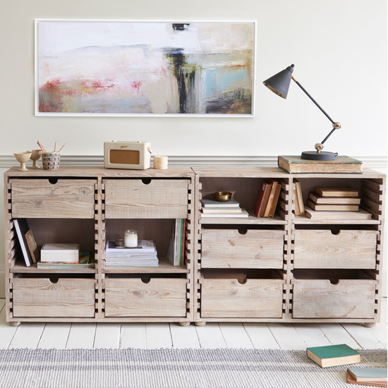 Chocablock storage console table with drawers