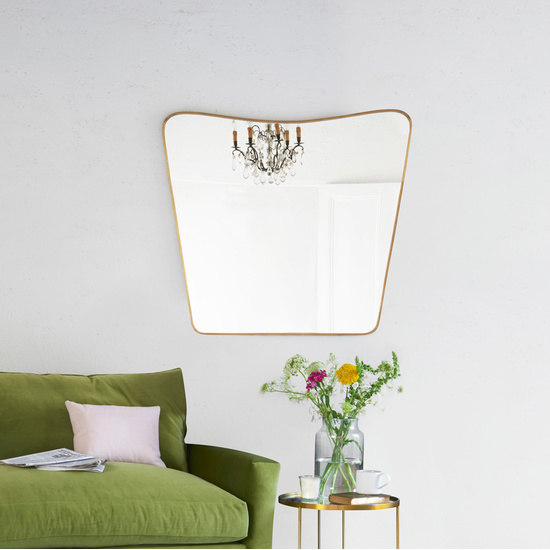 Big Brass vintage floor standing full length mirror with sofa