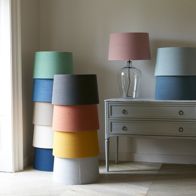 Loaf Large Flagon table lamp with colourful Vintage Linen shades from 105 2