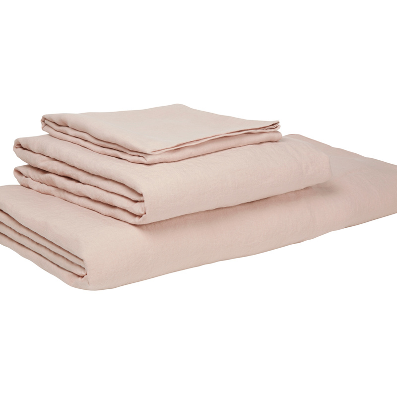 Lazy Linen Pillowcase x2 in Dusty pink