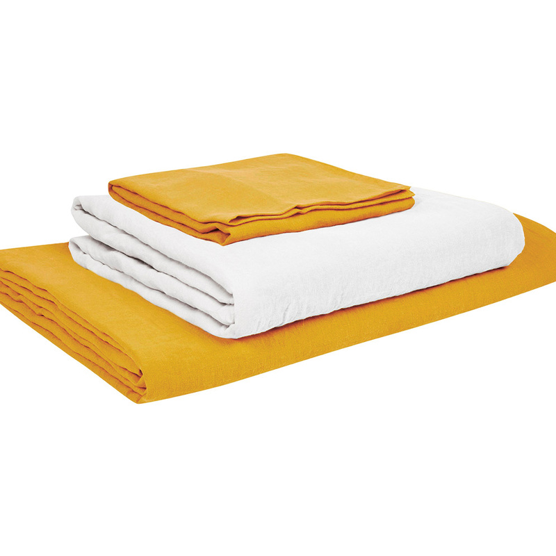 Double Lazy Linen duvet covers in Tuscan Yellow