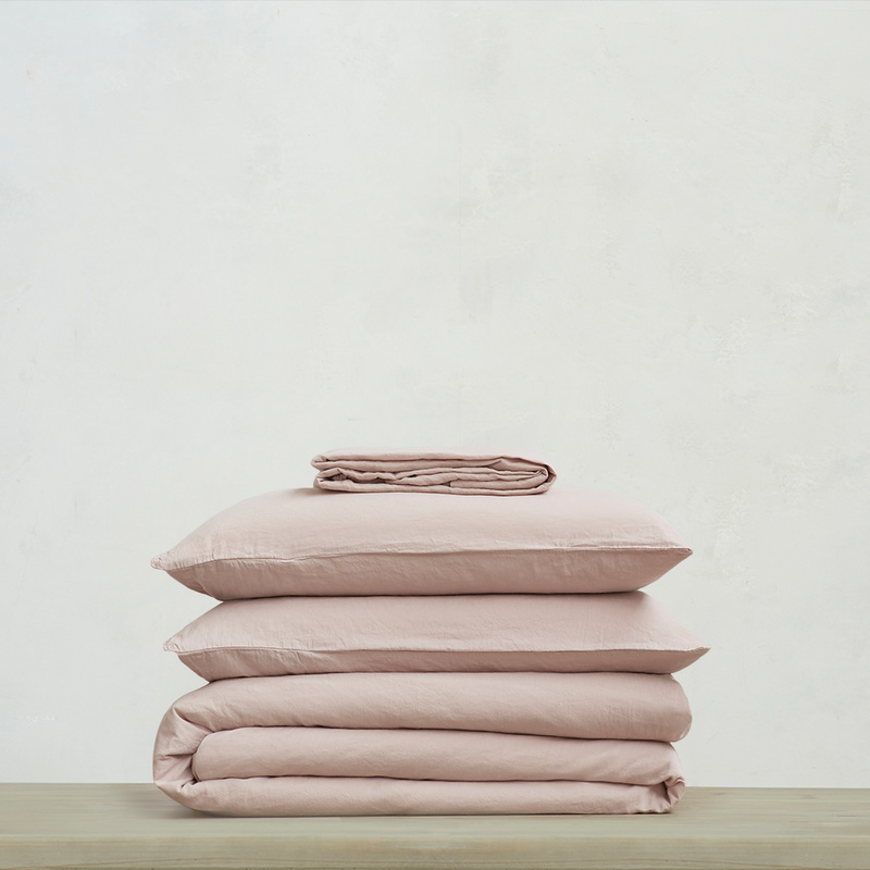 Everyday Linen Bed Linen Bundle in Pink putty
