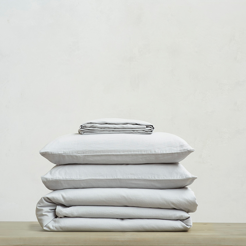 Tumbled Cotton super soft pure cotton Bed sheets bundle in Sky Grey